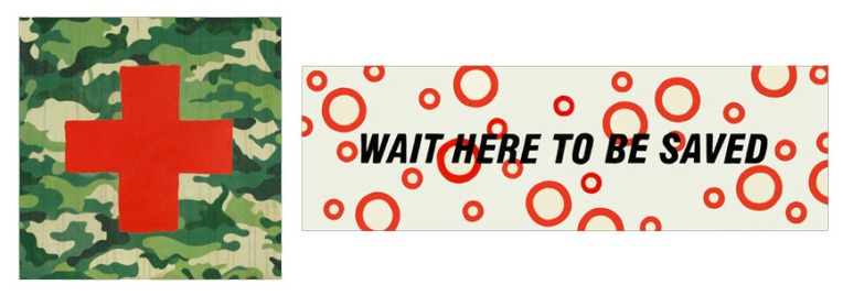 wait here to be saved . 2012 . acrylic . dyptic 197 x 64 cm