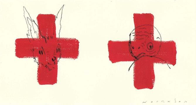 la liebre y la tortuga . acrylic / oil pencil . 24 x 13 cm