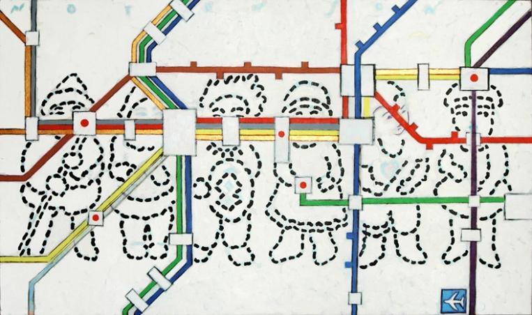 subway . 2008 . acrylic . 160 x 92 cm